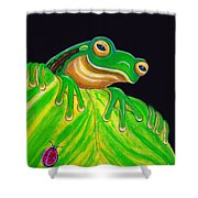 Tree Frog On A Leaf With Lady Bug Shower Curtain