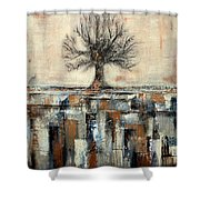 Tree In Brown And Gold Landscape Shower Curtain