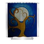Tree In Moon Light Shower Curtain
