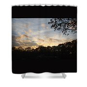 Tree Line And Clouds Shower Curtain