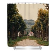 Tree Lined Pathway In Lyon France Shower Curtain