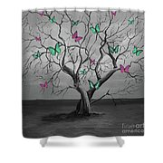 Tree Of Butterflies  Shower Curtain