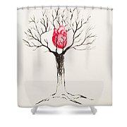 Tree Of Hearts Shower Curtain