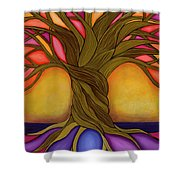 Tree Of Life Shower Curtain by Carla Bank