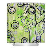 Tree Of Life Spring Abstract Tree Painting  Shower Curtain