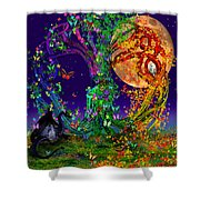 Tree Of Life With Owl And Dragon Shower Curtain