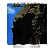Tree On A Cliff At Battleship Rock New Mexico - 003 Shower Curtain