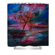 Tree Splat Fragmented Shower Curtain