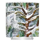 Tree With White Fluffy Snow Shower Curtain