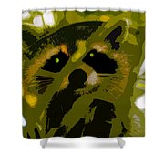 Treed Raccoon Shower Curtain