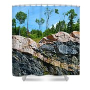 Trees Above The Pink And Grey Rock  Shower Curtain