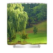 Trees Along Hill Shower Curtain