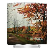 Trees Along The Canal Shower Curtain
