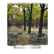Trees And Empty Chairs In Autumn Shower Curtain