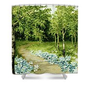 Trees And Flowers Country Scene Shower Curtain