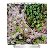 Trees And Path From Above Drone Photography Shower Curtain