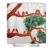 Trees And Red Birds 1 Shower Curtain
