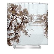 Trees By A River Shower Curtain
