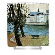 Trees By The River Shower Curtain