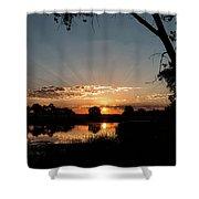 Trees Frame A Great Plains Sunrise Shower Curtain