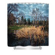 Trees In A Fog On A Background Of The River In Summer Morning  Shower Curtain