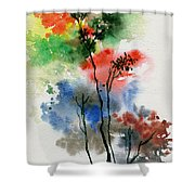 Trees In Colors Shower Curtain
