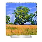 Trees In Field Shower Curtain