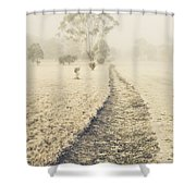 Trees In Fog And Mist Shower Curtain