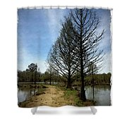 Trees In Water Garden Shower Curtain