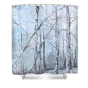Trees In Winter Snow Shower Curtain