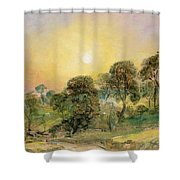 Trees On Hampstead Heath At Sunset Shower Curtain