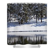 Trees Reflecting In Duck Pond In Colorado Snow Shower Curtain
