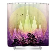 Trees Under Magic Mountains IIi Shower Curtain