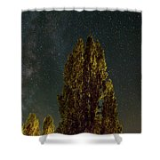 Trees Under The Milky Way On A Starry Night Shower Curtain