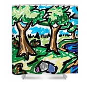 Trees W Water Ddl Shower Curtain