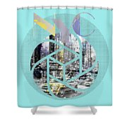 Trendy Design New York City Geometric Mix No 4 Shower Curtain by Melanie Viola