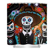 Tres Mariachis Shower Curtain by Pristine Cartera Turkus