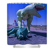 Trex And Triceratops  Shower Curtain