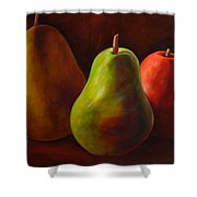 Tri Pear Shower Curtain by Shannon Grissom