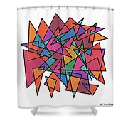 Triangles In Motion Shower Curtain by ME Kozdron