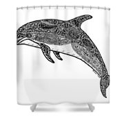 Tribal Dolphin Shower Curtain by Carol Lynne