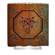 Tribal Dragon Head In Octagon With Dragon Chinese Characters Shower Curtain