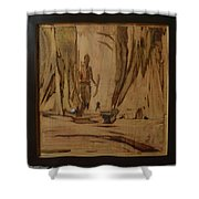 Tribal Man With Wooden Waste Shower Curtain