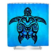 Tribal Turtle Hibiscus Shower Curtain