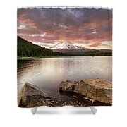 Trillium Lake Sunset Shower Curtain