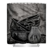 Trio Black And White Shower Curtain