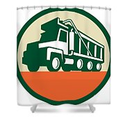Triple Axle Dump Trunk Low Angle Circle Retro Shower Curtain