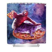 Trippy Space Sloth Turtle - Sloth Pizza Shower Curtain