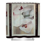 Triptic White Orchids On Light Background Shower Curtain
