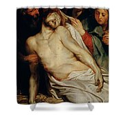 Triptych Of Christ On The Straw Shower Curtain